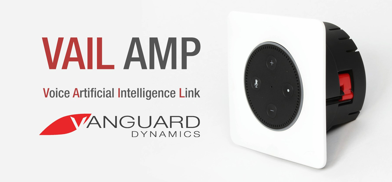 Vanguard Dynamics VAIL Amp In-Wall Mounting Dock  with high performance stereo amplifier for Amazon Echo Dot